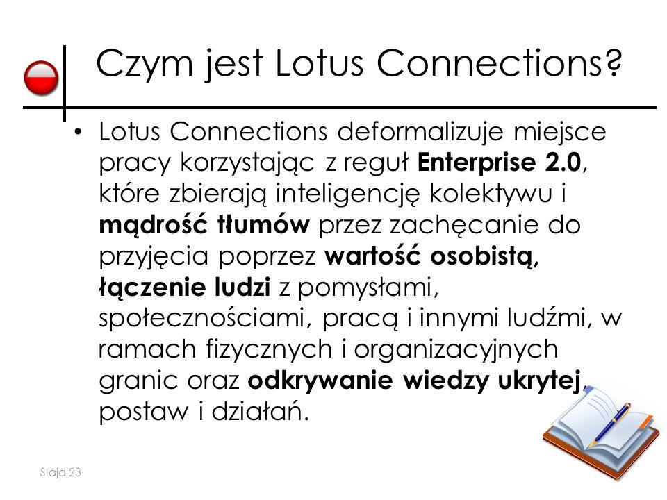 Slajd 23 Czym jest Lotus Connections? Lotus Connections deformalizuje miejsce pracy korzystając z reguł Enterprise 2.0, które zbierają inteligencję ko