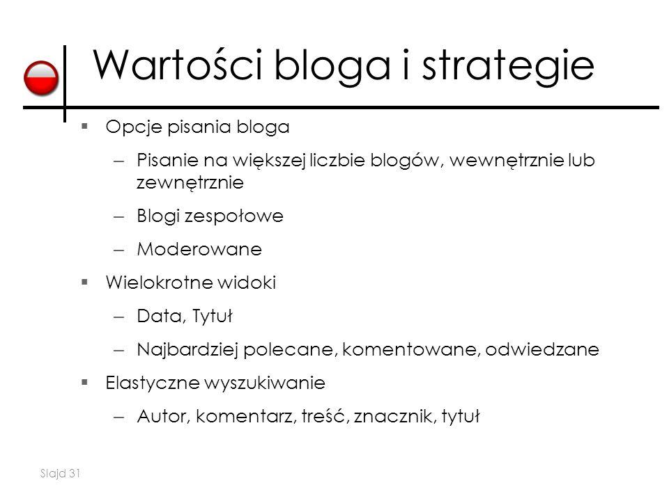 Slajd 31  Opcje pisania bloga – Pisanie na większej liczbie blogów, wewnętrznie lub zewnętrznie – Blogi zespołowe – Moderowane  Wielokrotne widoki – Data, Tytuł – Najbardziej polecane, komentowane, odwiedzane  Elastyczne wyszukiwanie – Autor, komentarz, treść, znacznik, tytuł Wartości bloga i strategie