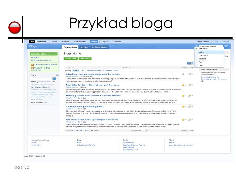 Slajd 32 Przykład bloga