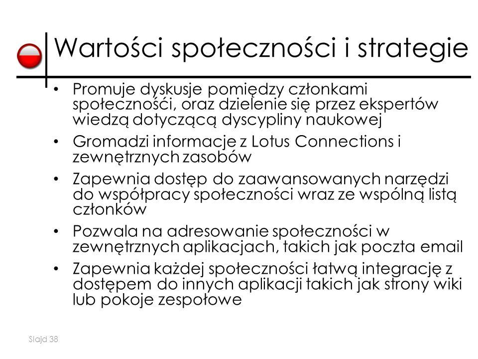 Slajd 38 Wartości społeczności i strategie Promuje dyskusje pomiędzy członkami społecznośći, oraz dzielenie się przez ekspertów wiedzą dotyczącą dyscy