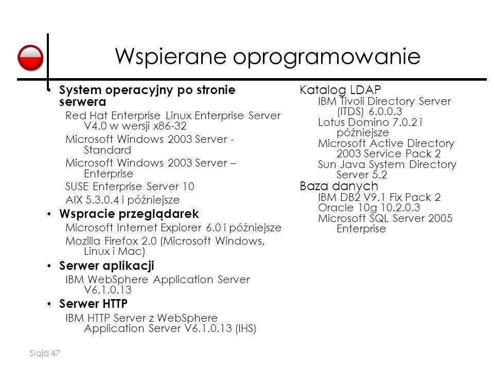 Slajd 47 Wspierane oprogramowanie System operacyjny po stronie serwera Red Hat Enterprise Linux Enterprise Server V4.0 w wersji x86-32 Microsoft Windo
