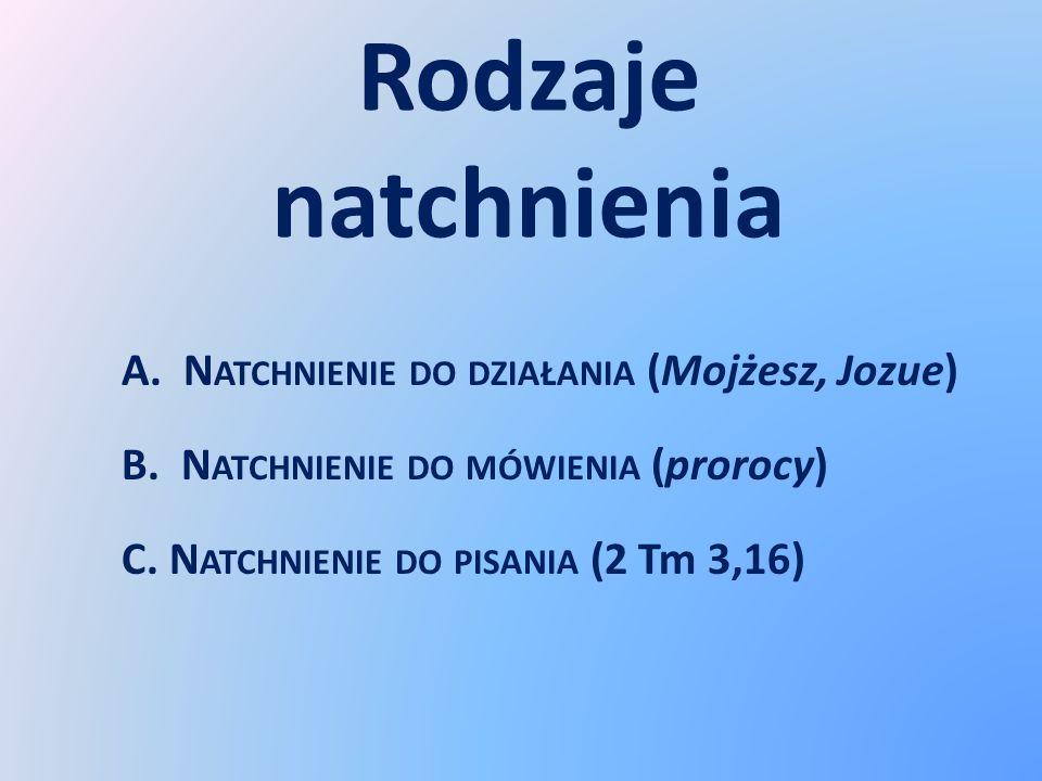 Rodzaje natchnienia A. N ATCHNIENIE DO DZIAŁANIA (Mojżesz, Jozue) B. N ATCHNIENIE DO MÓWIENIA (prorocy) C. N ATCHNIENIE DO PISANIA (2 Tm 3,16)