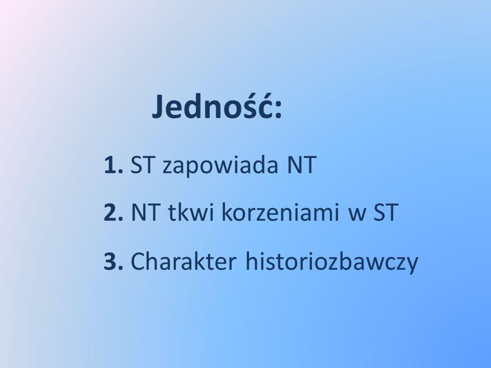 Jedność: 1. ST zapowiada NT 2. NT tkwi korzeniami w ST 3. Charakter historiozbawczy