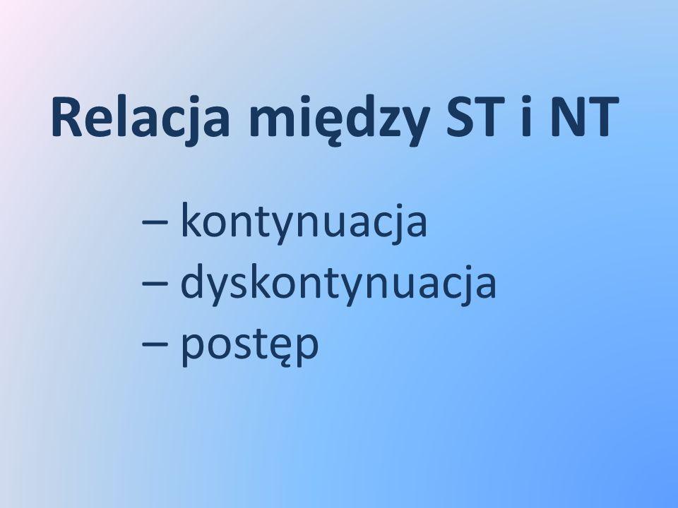 Relacja między ST i NT – kontynuacja – dyskontynuacja – postęp