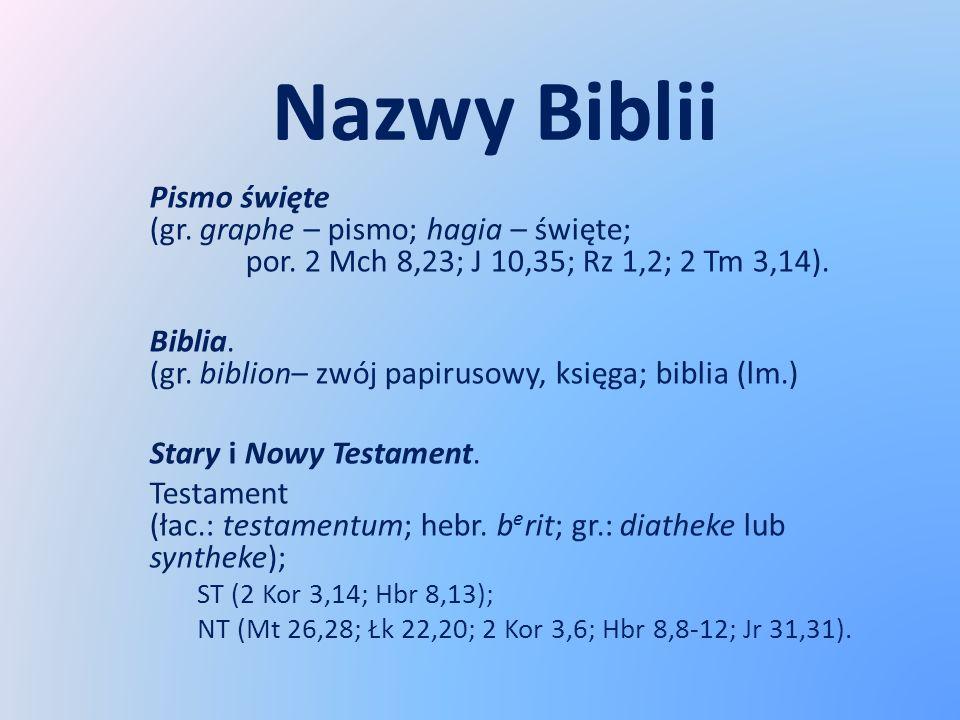 Nazwy Biblii Pismo święte (gr. graphe – pismo; hagia – święte; por. 2 Mch 8,23; J 10,35; Rz 1,2; 2 Tm 3,14). Biblia. (gr. biblion– zwój papirusowy