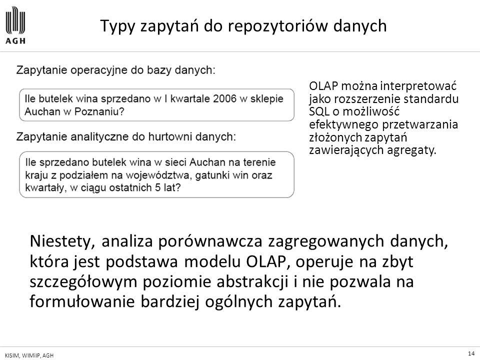 14 KISIM, WIMiIP, AGH Typy zapytań do repozytoriów danych Niestety, analiza porównawcza zagregowanych danych, która jest podstawa modelu OLAP, operuje