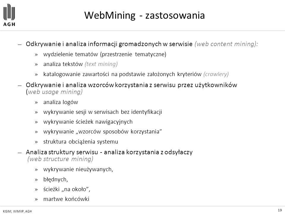 19 KISIM, WIMiIP, AGH WebMining - zastosowania — Odkrywanie i analiza informacji gromadzonych w serwisie (web content mining): » wydzielenie tematów (