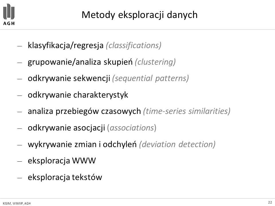 22 KISIM, WIMiIP, AGH Metody eksploracji danych — klasyfikacja/regresja (classifications) — grupowanie/analiza skupień (clustering) — odkrywanie sekwe