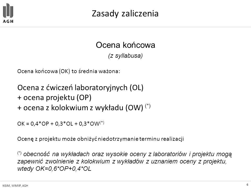 6 KISIM, WIMiIP, AGH Zasady zaliczenia Ocena końcowa (z syllabusa) Ocena końcowa (OK) to średnia ważona: Ocena z ćwiczeń laboratoryjnych (OL) + ocena