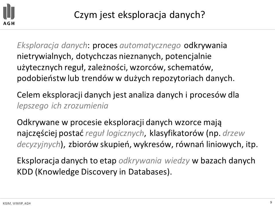 9 KISIM, WIMiIP, AGH Czym jest eksploracja danych? Eksploracja danych: proces automatycznego odkrywania nietrywialnych, dotychczas nieznanych, potencj
