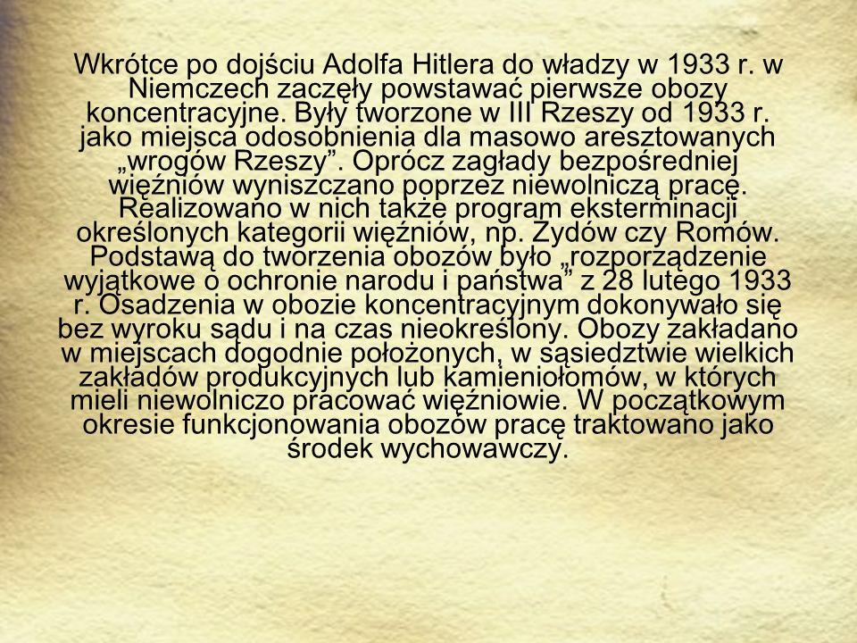 Wkrótce po dojściu Adolfa Hitlera do władzy w 1933 r. w Niemczech zaczęły powstawać pierwsze obozy koncentracyjne. Były tworzone w III Rzeszy od 1933