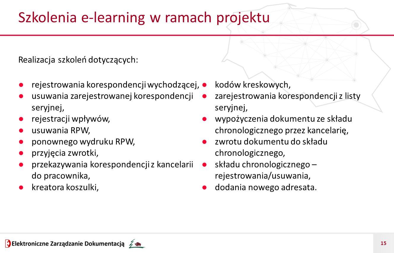 15 Szkolenia e-learning w ramach projektu ● rejestrowania korespondencji wychodzącej, ● usuwania zarejestrowanej korespondencji seryjnej, ● rejestracj