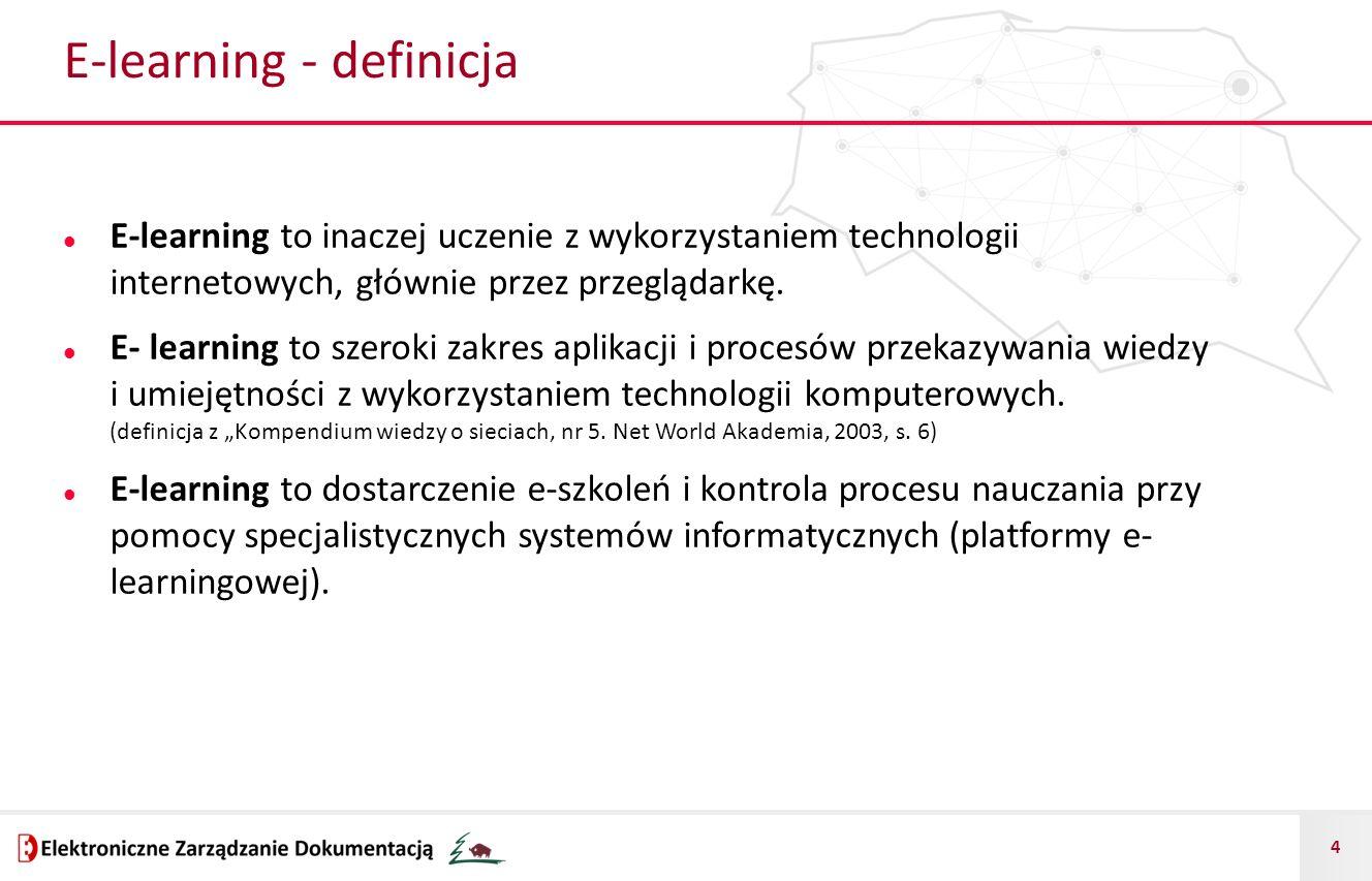 4 E-learning - definicja E-learning to inaczej uczenie z wykorzystaniem technologii internetowych, głównie przez przeglądarkę. E- learning to szeroki