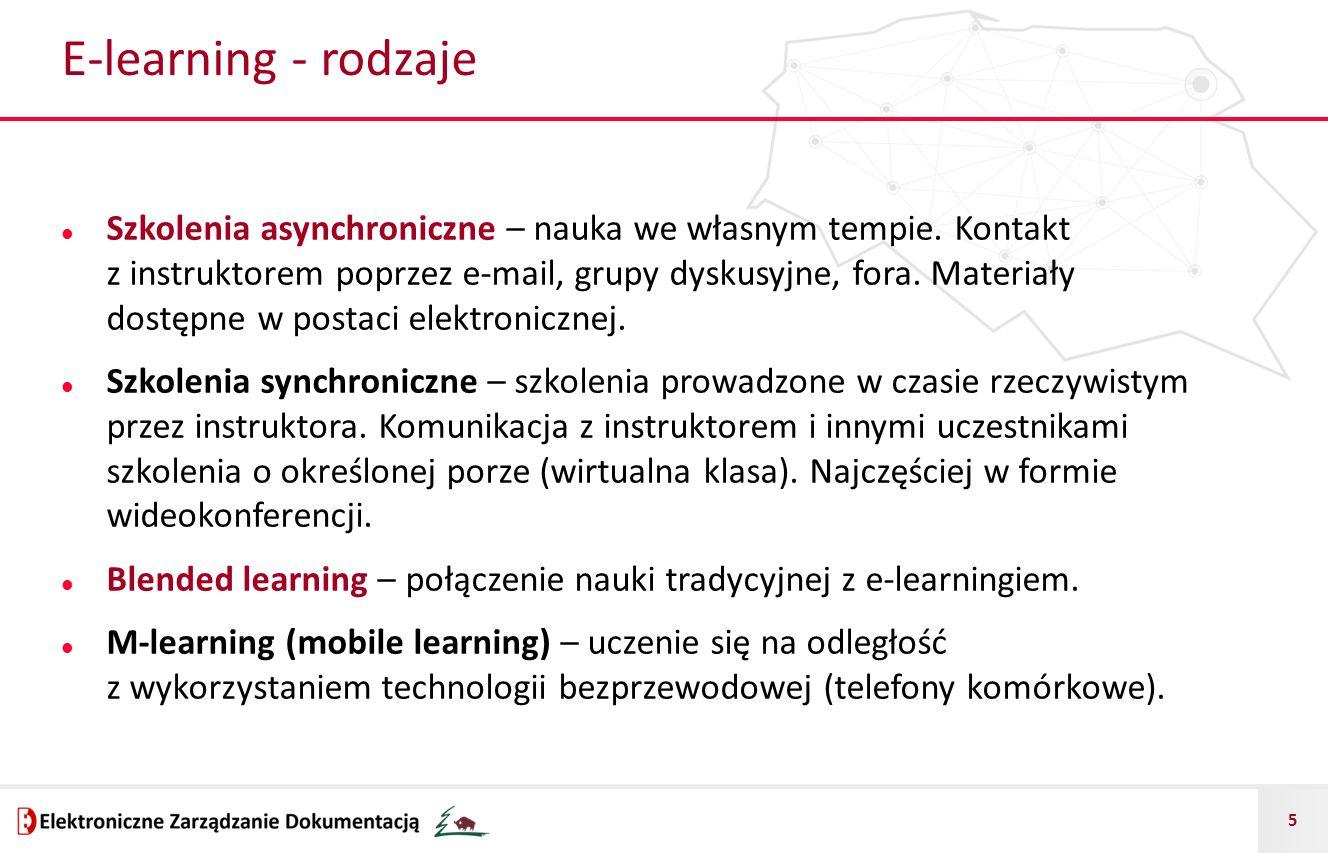 5 E-learning - rodzaje Szkolenia asynchroniczne – nauka we własnym tempie. Kontakt z instruktorem poprzez e-mail, grupy dyskusyjne, fora. Materiały do