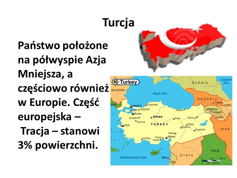 Turcja Państwo położone na półwyspie Azja Mniejsza, a częściowo również w Europie. Część europejska – Tracja – stanowi 3% powierzchni.