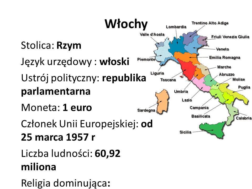 Włochy Stolica: Rzym Język urzędowy : włoski Ustrój polityczny: republika parlamentarna Moneta: 1 euro Członek Unii Europejskiej: od 25 marca 1957 r Liczba ludności: 60,92 miliona Religia dominująca: katolicyzm