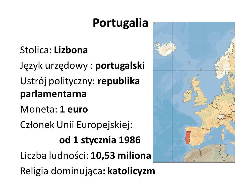 Portugalia Stolica: Lizbona Język urzędowy : portugalski Ustrój polityczny: republika parlamentarna Moneta: 1 euro Członek Unii Europejskiej: od 1 stycznia 1986 Liczba ludności: 10,53 miliona Religia dominująca: katolicyzm