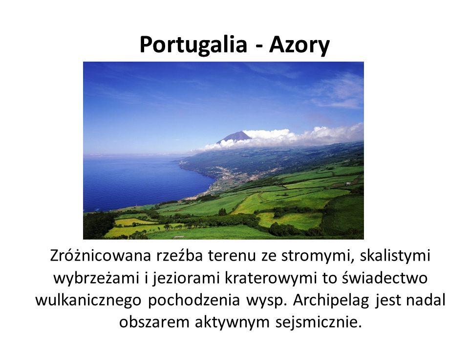 Portugalia - Azory Zróżnicowana rzeźba terenu ze stromymi, skalistymi wybrzeżami i jeziorami kraterowymi to świadectwo wulkanicznego pochodzenia wysp.