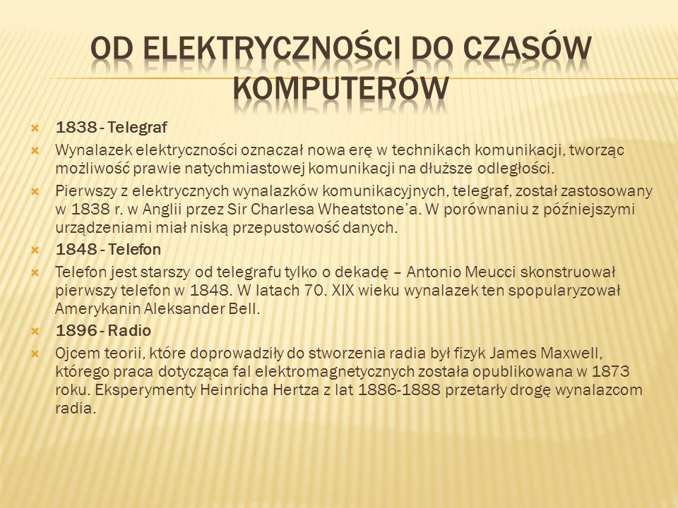  1838 - Telegraf  Wynalazek elektryczności oznaczał nowa erę w technikach komunikacji, tworząc możliwość prawie natychmiastowej komunikacji na dłużs