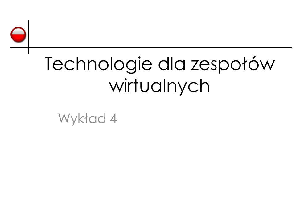 Cele Poznanie pojęcia społeczności oraz metod zarządzania społecznościami przy pomocy technologii ICT Dyskusja nad rolą technologii Web2.0 w pracy wirtualnych zespołów