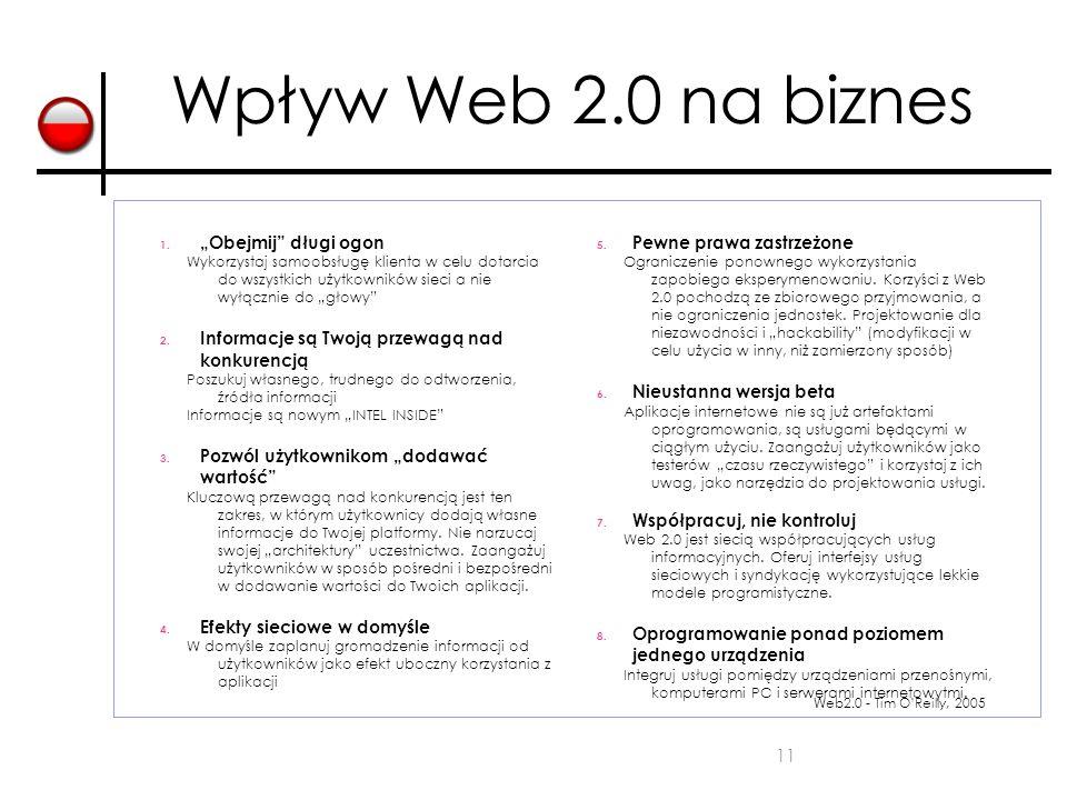 """11 Wpływ Web 2.0 na biznes 1. """"Obejmij"""" długi ogon Wykorzystaj samoobsługę klienta w celu dotarcia do wszystkich użytkowników sieci a nie wyłącznie do"""