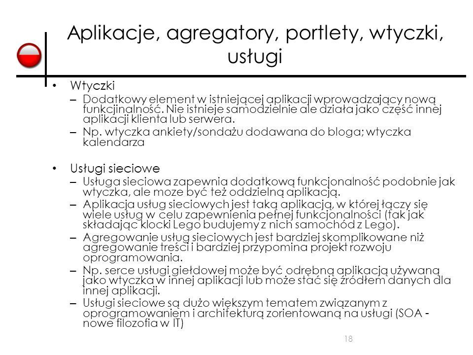 18 Aplikacje, agregatory, portlety, wtyczki, usługi Wtyczki – Dodatkowy element w istniejącej aplikacji wprowadzający nową funkcjinalność. Nie istniej