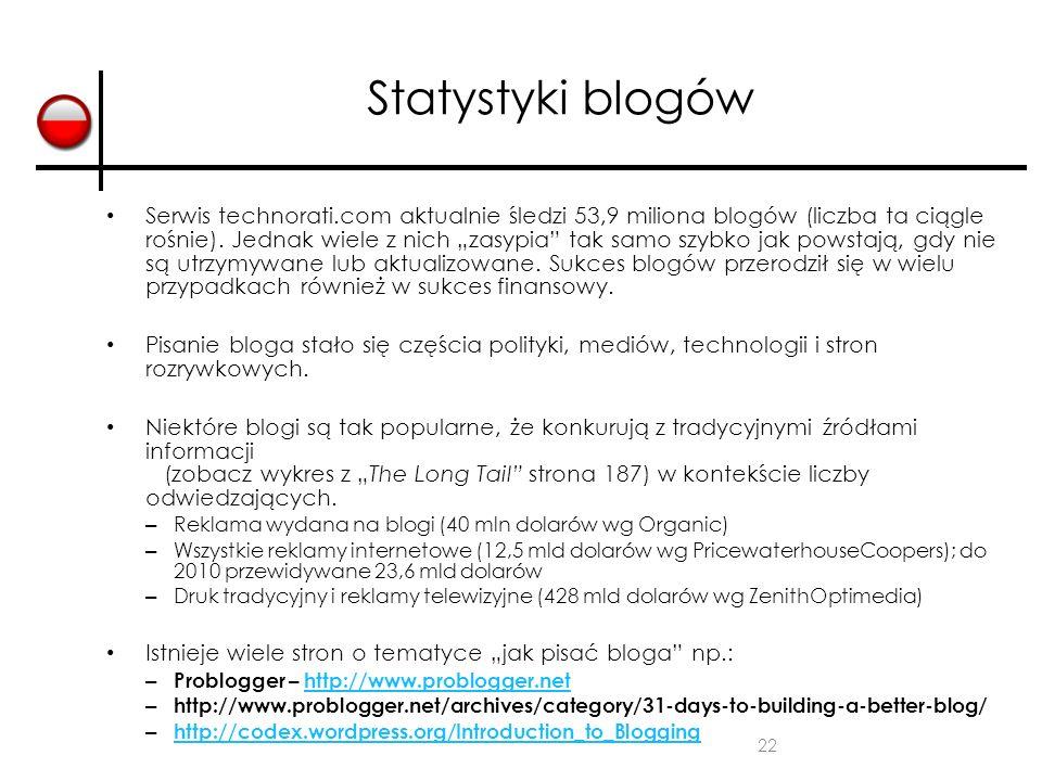 """22 Statystyki blogów Serwis technorati.com aktualnie śledzi 53,9 miliona blogów (liczba ta ciągle rośnie). Jednak wiele z nich """"zasypia"""" tak samo szyb"""
