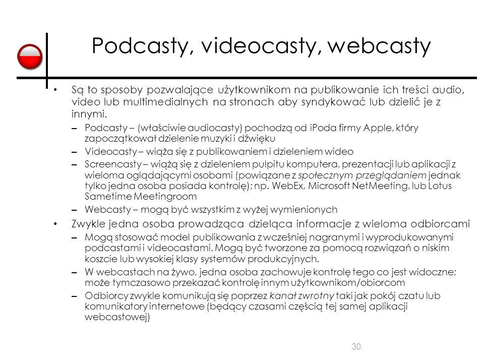 30 Podcasty, videocasty, webcasty Są to sposoby pozwalające użytkownikom na publikowanie ich treści audio, video lub multimedialnych na stronach aby s