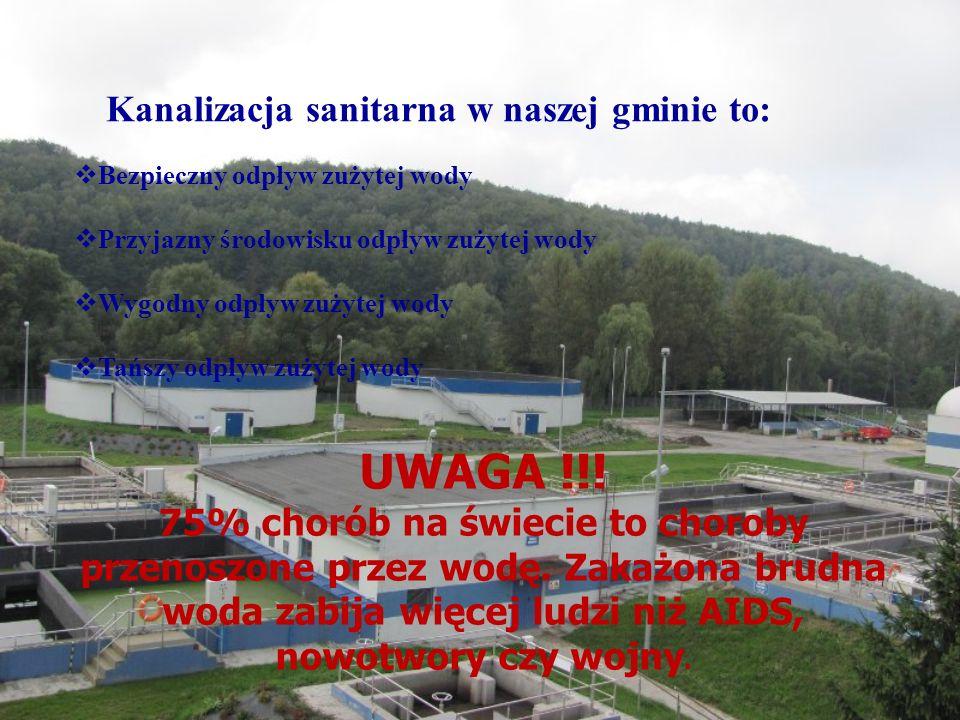 Kanalizacja sanitarna w naszej gminie to:  Bezpieczny odpływ zużytej wody  Przyjazny środowisku odpływ zużytej wody  Wygodny odpływ zużytej wody  Tańszy odpływ zużytej wody UWAGA !!.