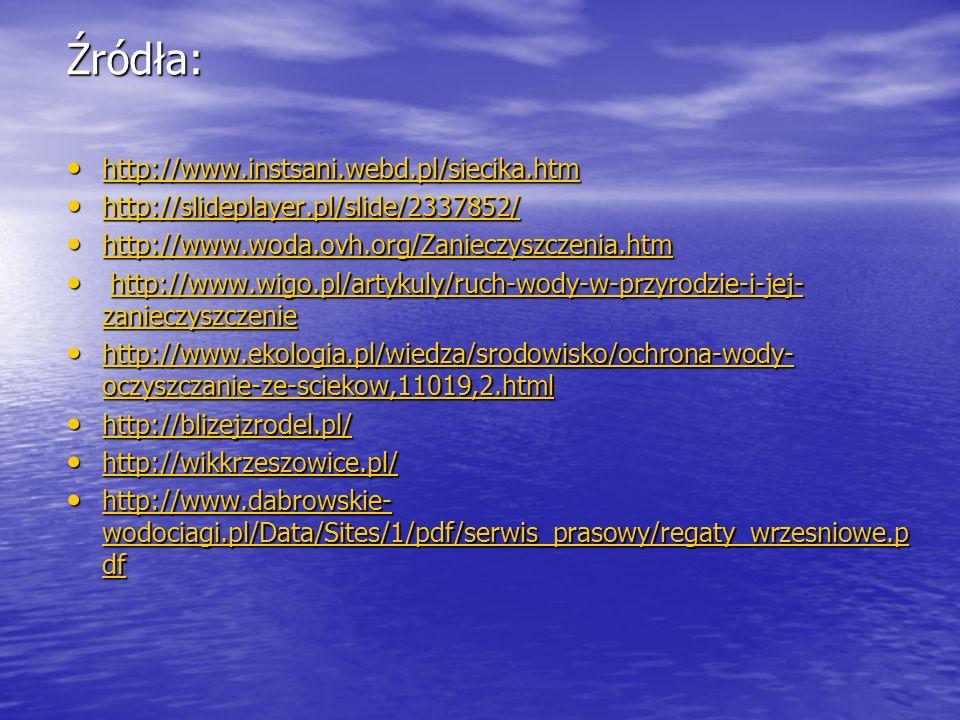Źródła: http://www.instsani.webd.pl/siecika.htm http://www.instsani.webd.pl/siecika.htm http://www.instsani.webd.pl/siecika.htm http://slideplayer.pl/slide/2337852/ http://slideplayer.pl/slide/2337852/ http://slideplayer.pl/slide/2337852/ http://www.woda.ovh.org/Zanieczyszczenia.htm http://www.woda.ovh.org/Zanieczyszczenia.htm http://www.woda.ovh.org/Zanieczyszczenia.htm http://www.wigo.pl/artykuly/ruch-wody-w-przyrodzie-i-jej- zanieczyszczenie http://www.wigo.pl/artykuly/ruch-wody-w-przyrodzie-i-jej- zanieczyszczeniehttp://www.wigo.pl/artykuly/ruch-wody-w-przyrodzie-i-jej- zanieczyszczeniehttp://www.wigo.pl/artykuly/ruch-wody-w-przyrodzie-i-jej- zanieczyszczenie http://www.ekologia.pl/wiedza/srodowisko/ochrona-wody- oczyszczanie-ze-sciekow,11019,2.html http://www.ekologia.pl/wiedza/srodowisko/ochrona-wody- oczyszczanie-ze-sciekow,11019,2.html http://www.ekologia.pl/wiedza/srodowisko/ochrona-wody- oczyszczanie-ze-sciekow,11019,2.html http://www.ekologia.pl/wiedza/srodowisko/ochrona-wody- oczyszczanie-ze-sciekow,11019,2.html http://blizejzrodel.pl/ http://blizejzrodel.pl/ http://blizejzrodel.pl/ http://wikkrzeszowice.pl/ http://wikkrzeszowice.pl/ http://wikkrzeszowice.pl/ http://www.dabrowskie- wodociagi.pl/Data/Sites/1/pdf/serwis_prasowy/regaty_wrzesniowe.p df http://www.dabrowskie- wodociagi.pl/Data/Sites/1/pdf/serwis_prasowy/regaty_wrzesniowe.p df http://www.dabrowskie- wodociagi.pl/Data/Sites/1/pdf/serwis_prasowy/regaty_wrzesniowe.p df http://www.dabrowskie- wodociagi.pl/Data/Sites/1/pdf/serwis_prasowy/regaty_wrzesniowe.p df