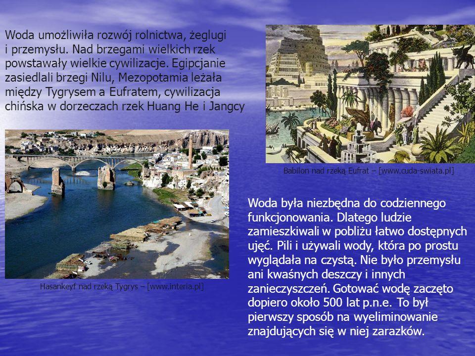 Woda umożliwiła rozwój rolnictwa, żeglugi i przemysłu. Nad brzegami wielkich rzek powstawały wielkie cywilizacje. Egipcjanie zasiedlali brzegi Nilu, M