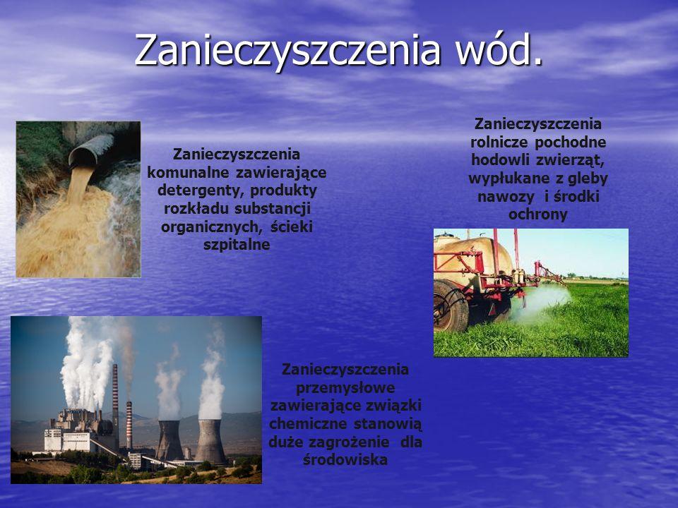 Zanieczyszczenia wód. Zanieczyszczenia komunalne zawierające detergenty, produkty rozkładu substancji organicznych, ścieki szpitalne Zanieczyszczenia