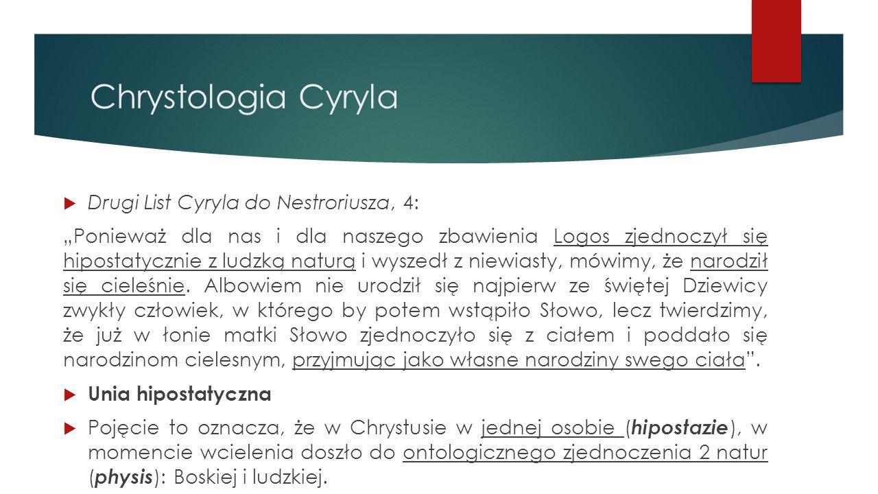 """Chrystologia Cyryla  Drugi List Cyryla do Nestroriusza, 4: """"Ponieważ dla nas i dla naszego zbawienia Logos zjednoczył się hipostatycznie z ludzką nat"""