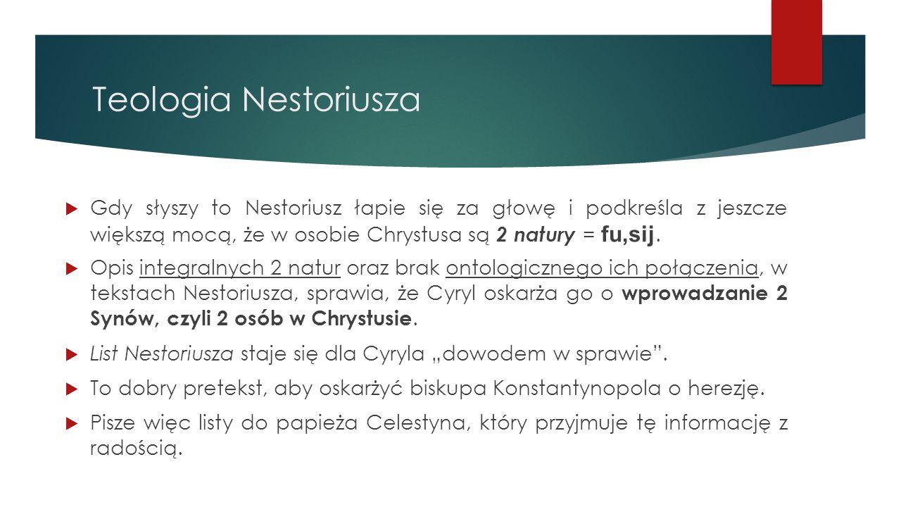 Teologia Nestoriusza  Gdy słyszy to Nestoriusz łapie się za głowę i podkreśla z jeszcze większą mocą, że w osobie Chrystusa są 2 natury = fu,sij.  O