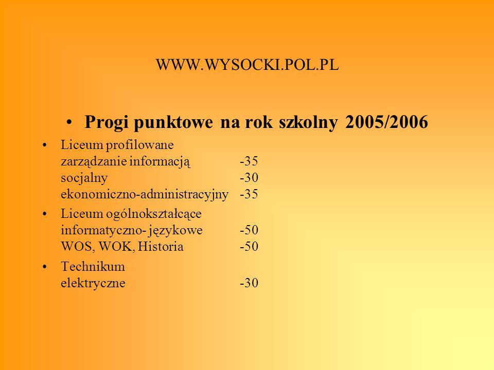 WWW.WYSOCKI.POL.PL Progi punktowe na rok szkolny 2005/2006 Liceum profilowane zarządzanie informacją-35 socjalny-30 ekonomiczno-administracyjny-35 Lic