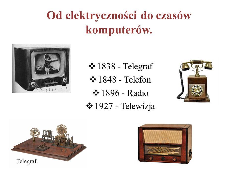 Od elektryczności do czasów komputerów.  1838 - Telegraf  1848 - Telefon  1896 - Radio  1927 - Telewizja Telegraf