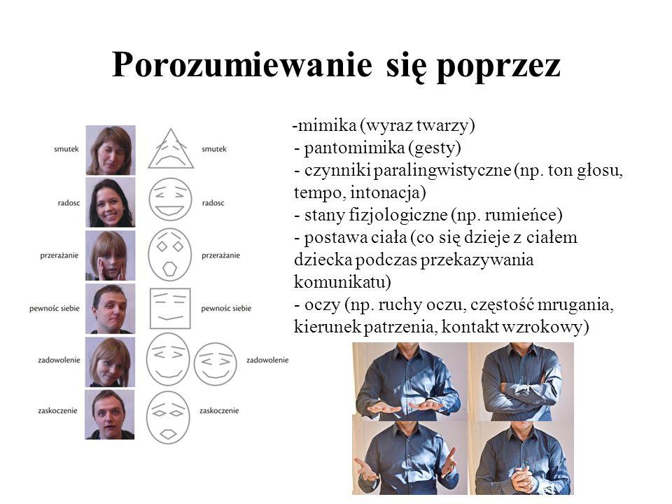 Porozumiewanie się poprzez -mimika (wyraz twarzy) - pantomimika (gesty) - czynniki paralingwistyczne (np. ton głosu, tempo, intonacja) - stany fizjolo