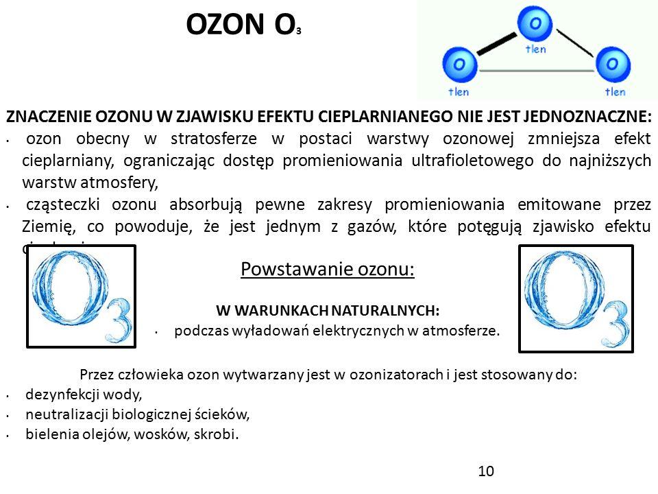 10 OZON O 3 ZNACZENIE OZONU W ZJAWISKU EFEKTU CIEPLARNIANEGO NIE JEST JEDNOZNACZNE: ozon obecny w stratosferze w postaci warstwy ozonowej zmniejsza ef