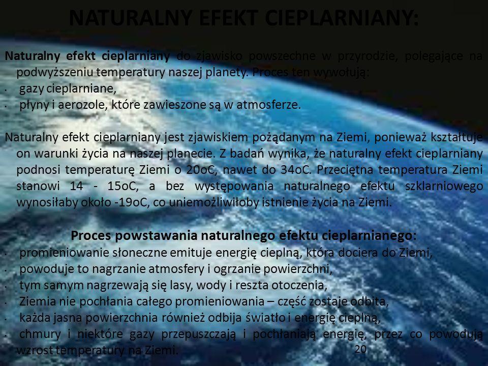 20 NATURALNY EFEKT CIEPLARNIANY: Naturalny efekt cieplarniany do zjawisko powszechne w przyrodzie, polegające na podwyższeniu temperatury naszej plane