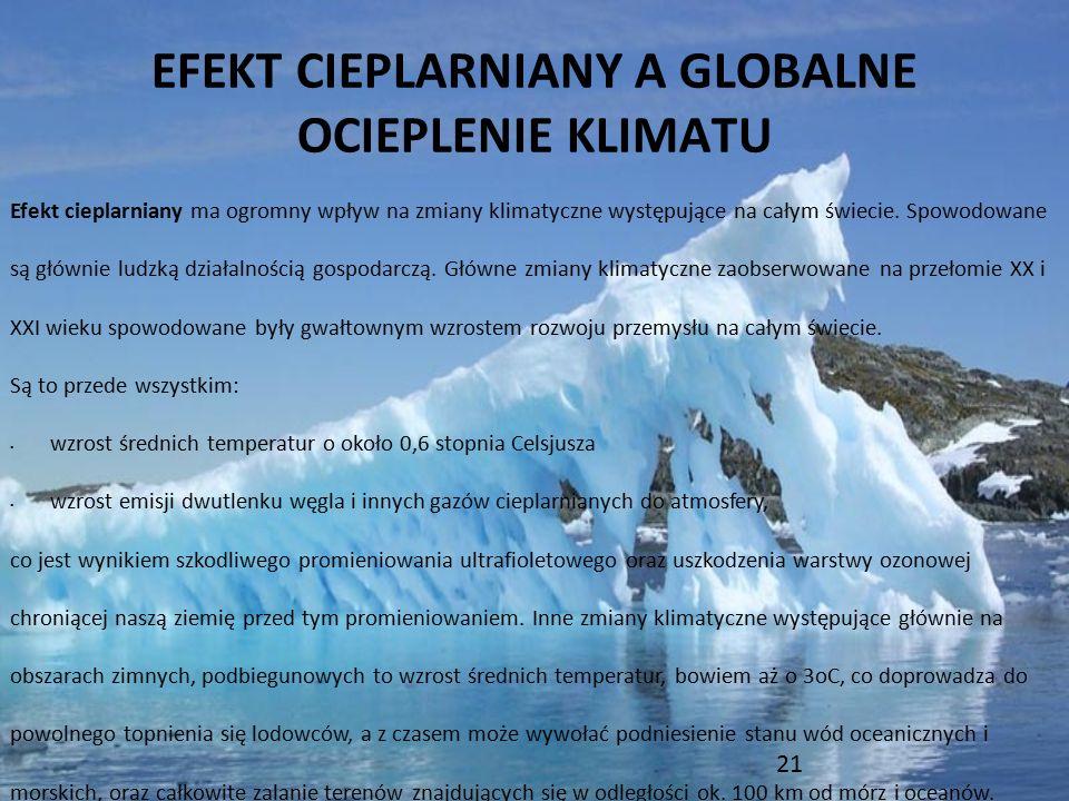 EFEKT CIEPLARNIANY A GLOBALNE OCIEPLENIE KLIMATU Efekt cieplarniany ma ogromny wpływ na zmiany klimatyczne występujące na całym świecie. Spowodowane s