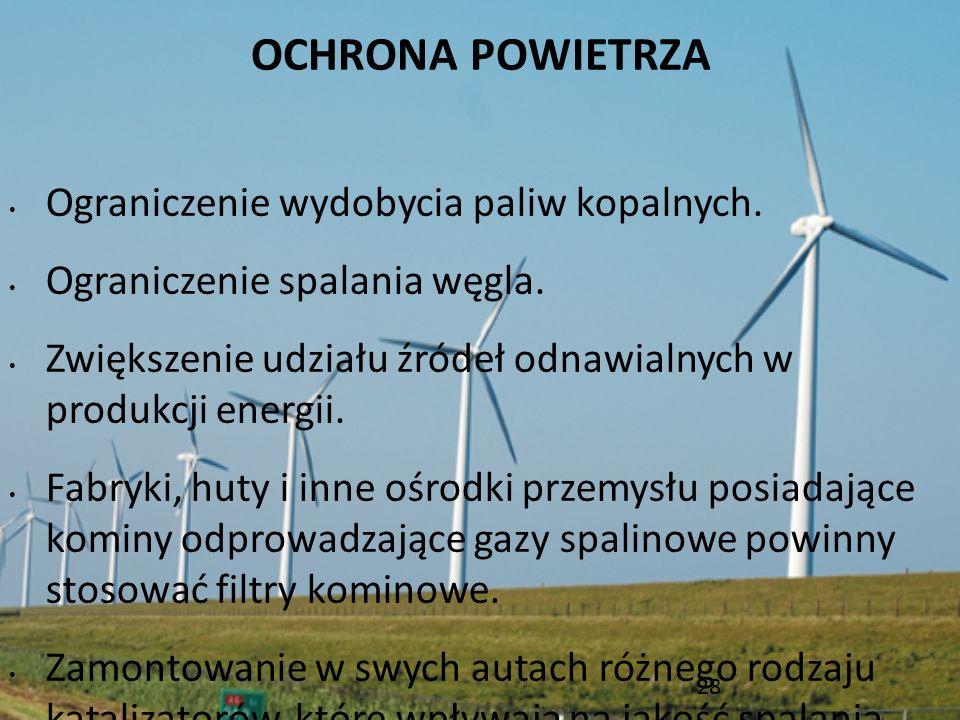 OCHRONA POWIETRZA Ograniczenie wydobycia paliw kopalnych. Ograniczenie spalania węgla. Zwiększenie udziału źródeł odnawialnych w produkcji energii. Fa