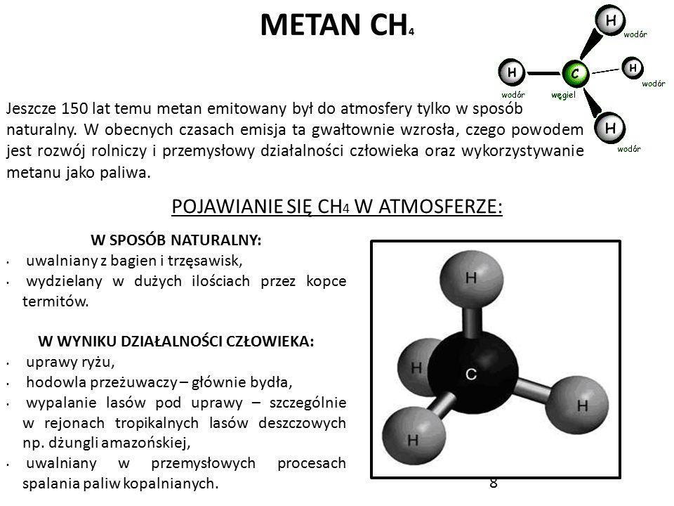8 METAN CH 4 Jeszcze 150 lat temu metan emitowany był do atmosfery tylko w sposób naturalny. W obecnych czasach emisja ta gwałtownie wzrosła, czego po