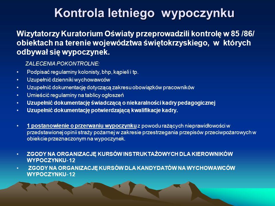 Kontrola letniego wypoczynku Wizytatorzy Kuratorium Oświaty przeprowadzili kontrolę w 85 /86/ obiektach na terenie województwa świętokrzyskiego, w któ