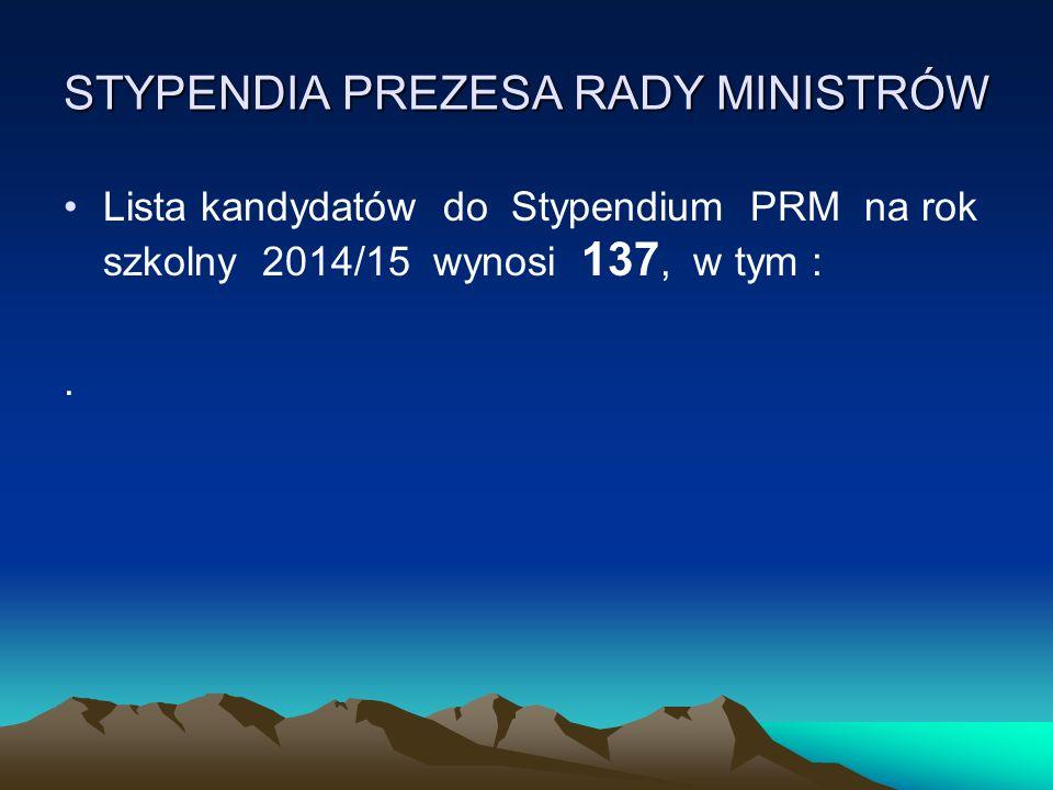 STYPENDIA PREZESA RADY MINISTRÓW Lista kandydatów do Stypendium PRM na rok szkolny 2014/15 wynosi 137, w tym :.