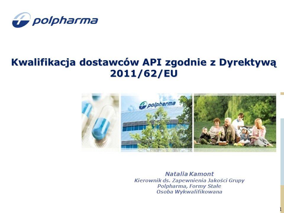 Kwalifikacja dostawców API zgodnie z Dyrektywą 2011/62/EU 1 Natalia Kamont Kierownik ds.