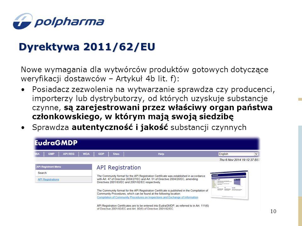 Dyrektywa 2011/62/EU 10 Nowe wymagania dla wytwórców produktów gotowych dotyczące weryfikacji dostawców – Artykuł 4b lit.