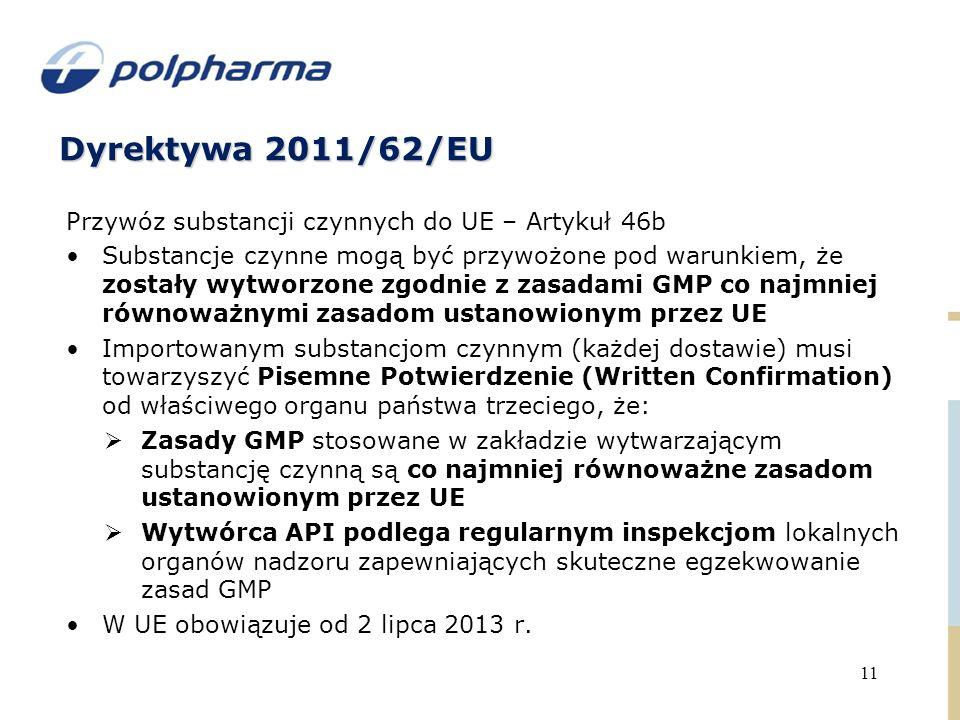 Dyrektywa 2011/62/EU 11 Przywóz substancji czynnych do UE – Artykuł 46b Substancje czynne mogą być przywożone pod warunkiem, że zostały wytworzone zgodnie z zasadami GMP co najmniej równoważnymi zasadom ustanowionym przez UE Importowanym substancjom czynnym (każdej dostawie) musi towarzyszyć Pisemne Potwierdzenie (Written Confirmation) od właściwego organu państwa trzeciego, że:  Zasady GMP stosowane w zakładzie wytwarzającym substancję czynną są co najmniej równoważne zasadom ustanowionym przez UE  Wytwórca API podlega regularnym inspekcjom lokalnych organów nadzoru zapewniających skuteczne egzekwowanie zasad GMP W UE obowiązuje od 2 lipca 2013 r.