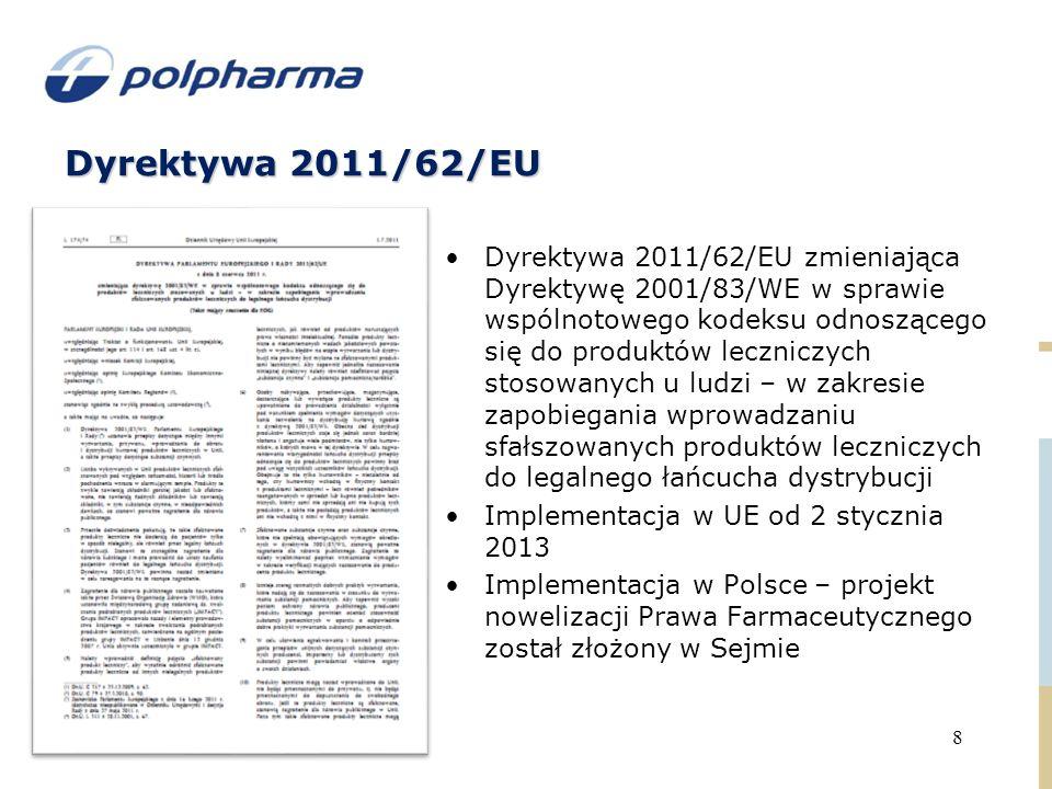 Dyrektywa 2011/62/EU 8 Dyrektywa 2011/62/EU zmieniająca Dyrektywę 2001/83/WE w sprawie wspólnotowego kodeksu odnoszącego się do produktów leczniczych stosowanych u ludzi – w zakresie zapobiegania wprowadzaniu sfałszowanych produktów leczniczych do legalnego łańcucha dystrybucji Implementacja w UE od 2 stycznia 2013 Implementacja w Polsce – projekt nowelizacji Prawa Farmaceutycznego został złożony w Sejmie