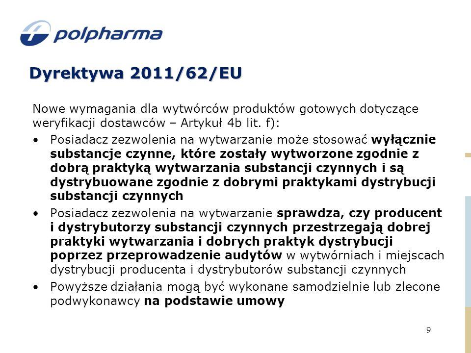 Dyrektywa 2011/62/EU 9 Nowe wymagania dla wytwórców produktów gotowych dotyczące weryfikacji dostawców – Artykuł 4b lit.