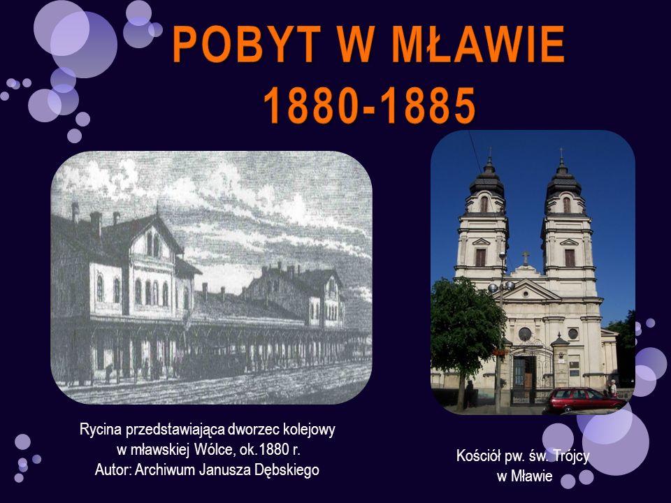 Kościół pw. św. Trójcy w Mławie Rycina przedstawiająca dworzec kolejowy w mławskiej Wólce, ok.1880 r. Autor: Archiwum Janusza Dębskiego